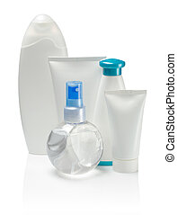 isolated bottles and tubes for care