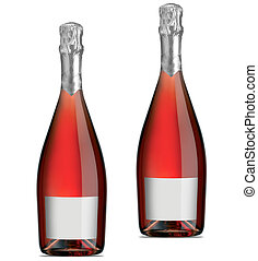 Isolated bottles of red (rose) wine over a white background