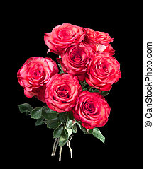 Isolated bouquet of red roses on the black background