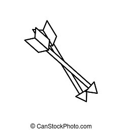 Isolated bow arrows