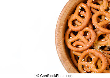 Isolated bowl of crunchy pretzels