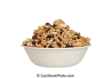 isolated bowl of granola raisin almond cereal