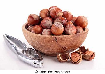 isolated bowl of hazelnut