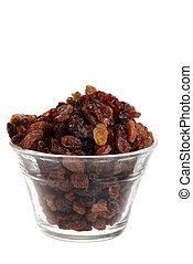 isolated bowl of raisins