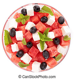 isolated bowl of watermelon salad