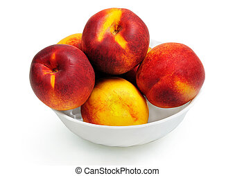 Isolated bowl with nectarine