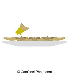 Isolated bowl with raviolis on a white background