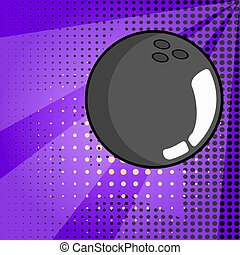 Isolated bowling ball. Pop art style