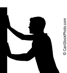 Isolated Silhouetted Boy Child Gesture and Activity Pushing