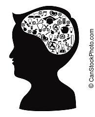 boy head shape with creative idea icons