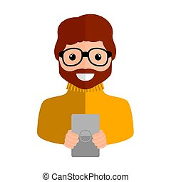 Isolated boy with a smartphone - Vector