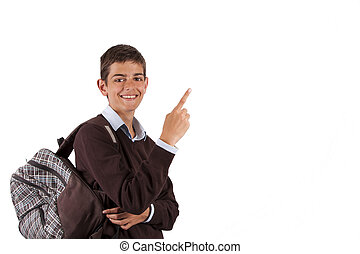 isolated boy with backpack pointing