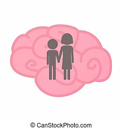 Isolated brain with a childhood pictogram