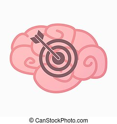 Isolated brain with a dart board - Illustration of an...