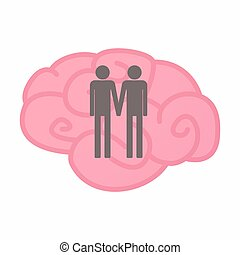 Isolated brain with a gay couple pictogram