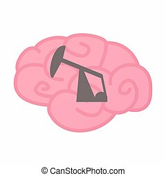 Illustration of an isolated brain with a horsehead pump