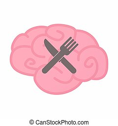 Isolated brain with a knife and a fork