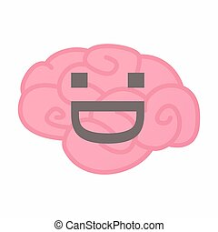 Isolated brain with a laughing text face
