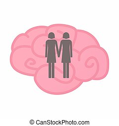 Isolated brain with a lesbian couple pictogram