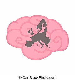 Isolated brain with a map of Europe