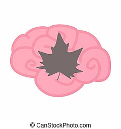 Isolated brain with an autumn leaf tree