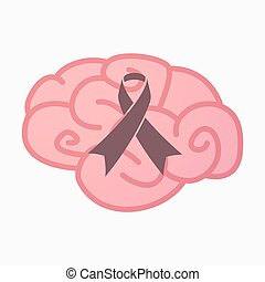 Isolated brain with an awareness ribbon