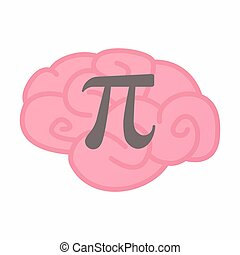 Isolated brain with the number pi symbol