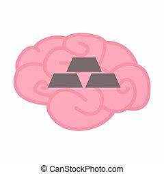 Isolated brain with three gold bullions