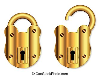 Isolated Brass Padlock - A new brass padlock in open and...