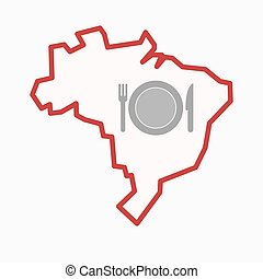 Isolated Brazil map with  a dish, knife and a fork icon