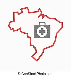Isolated Brazil map with a first aid kit icon