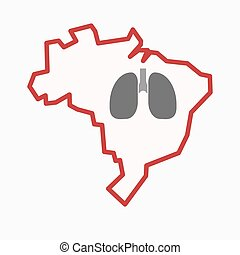 Isolated Brazil map with a healthy human lung icon