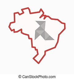 Isolated Brazil map with  a paper bird