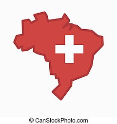Isolated Brazil map with   the Swiss flag