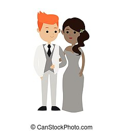 Isolated bride and groom design