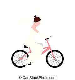Isolated bride on a bicycle. Marriage concept