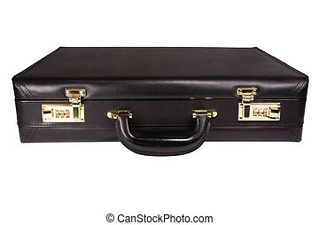 Isolated Briefcase - An isolated black leather brief case ...