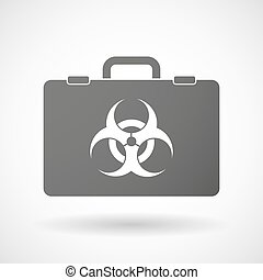 Isolated briefcase icon with a biohazard sign