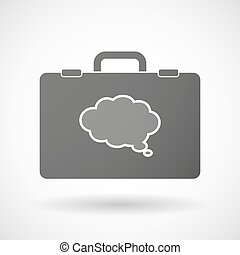 Isolated briefcase icon with a comic cloud balloon