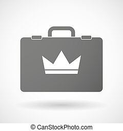 Isolated briefcase icon with a crown