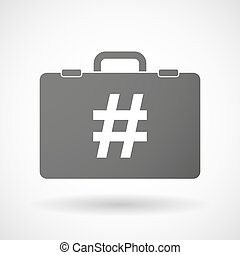 Illustration of an isolated briefcase icon with a hash tag