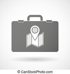 Isolated briefcase icon with a map