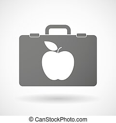 Isolated briefcase icon with an apple