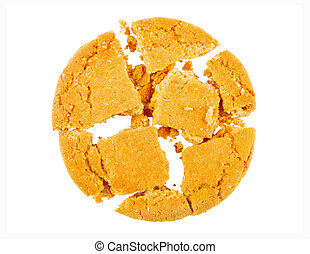 Isolated broken cookie on a white background