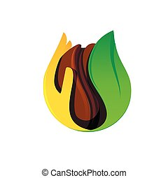 Isolated brown coffee bean in a hand and leaf vector logo. Cafe symbol. Morning energetic drink logotype. Dark seed  illustration on the white background.