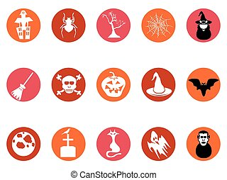 brown Halloween round button icons set