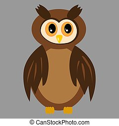 Isolated brown owl with open eyes
