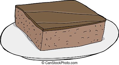 Isolated Brownie on Plate - Isolated cartoon brownie on...