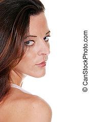 brunette looking over her shoulder