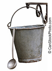 isolated bucket and ladle